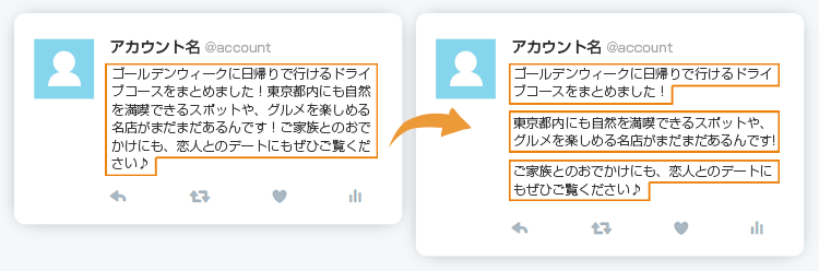 ツイートの文章は細かく段落分けする