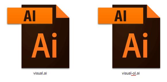 アウトライン化する前とアウトライン化後のイラストレーターのデータ