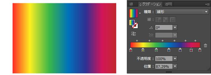 グラデーションスライダーに7色設定して虹のグラデーションが完成