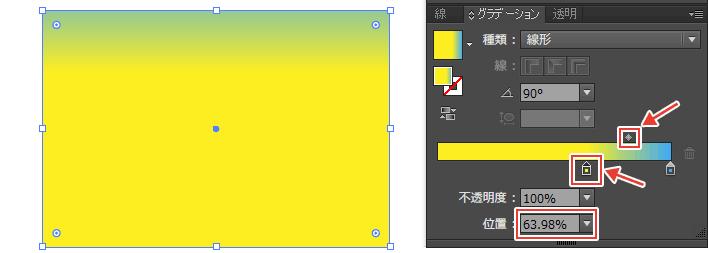 位置パネルの数値を変えればスライダーも連動して変化する