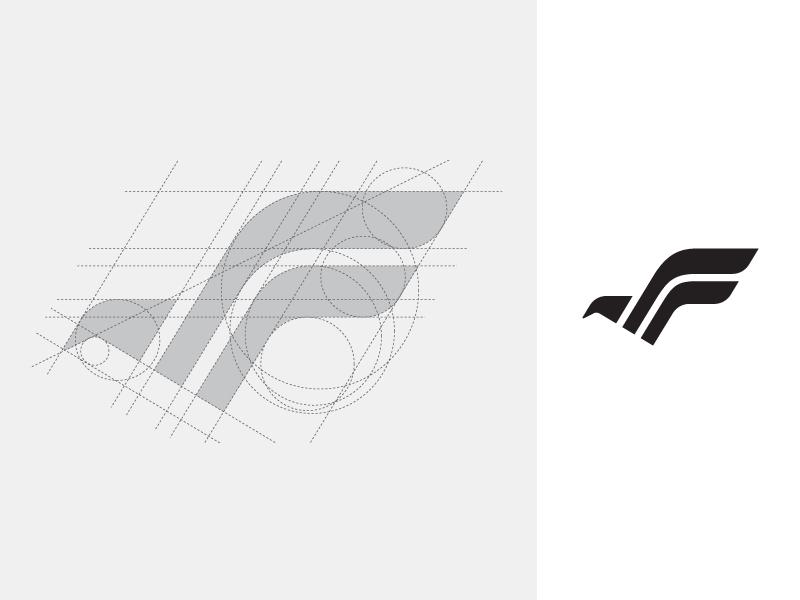 円と直線を組み合わせたシャープなロゴ