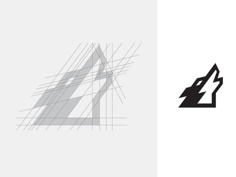 直線のみで狼の遠吠えを表現したロゴ