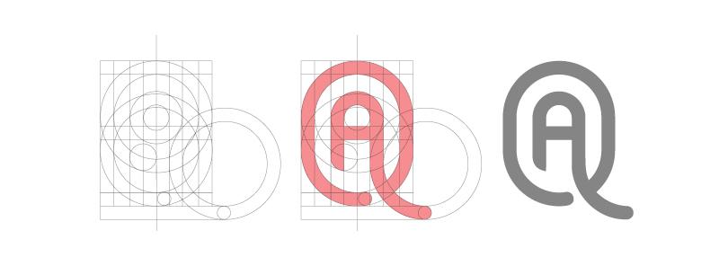 コンストラクション・グリッドで作られたロゴの見本