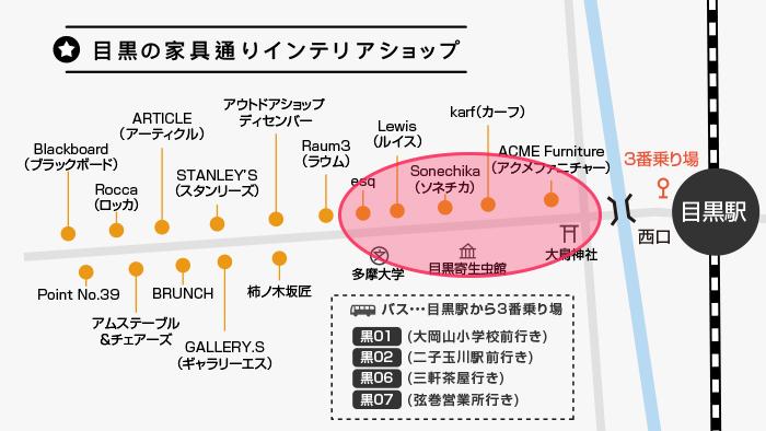 目黒の家具通りマップ(目黒駅寄りエリア)