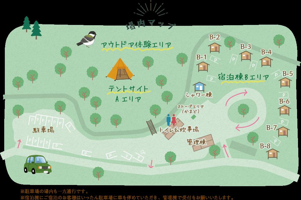 ビアッソキャンプ場の場内マップ